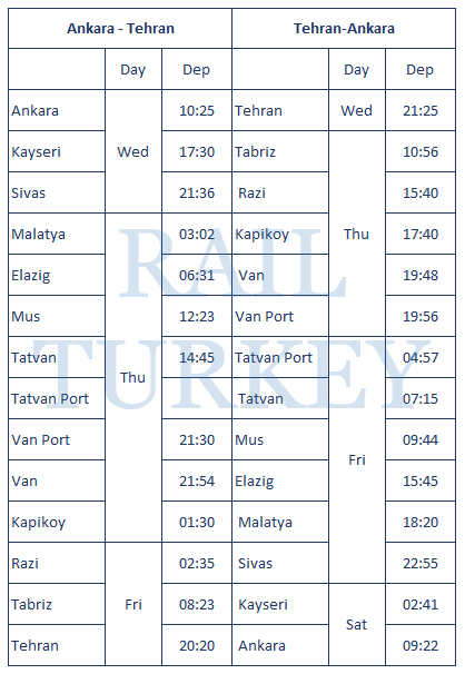 ankara-tehran-timetable