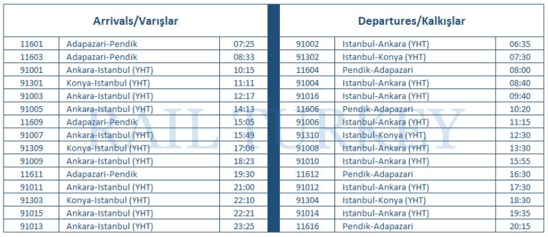 pendik timetable