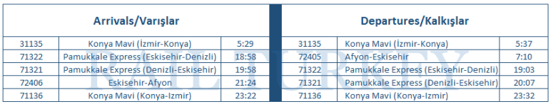 Afyon timetable
