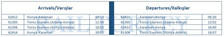 karaman timetable