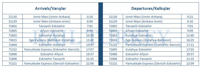 Kütahya timetable