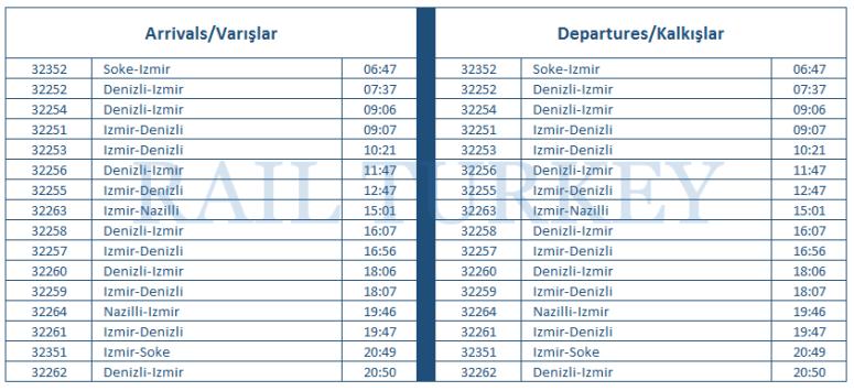selcuk station timetable