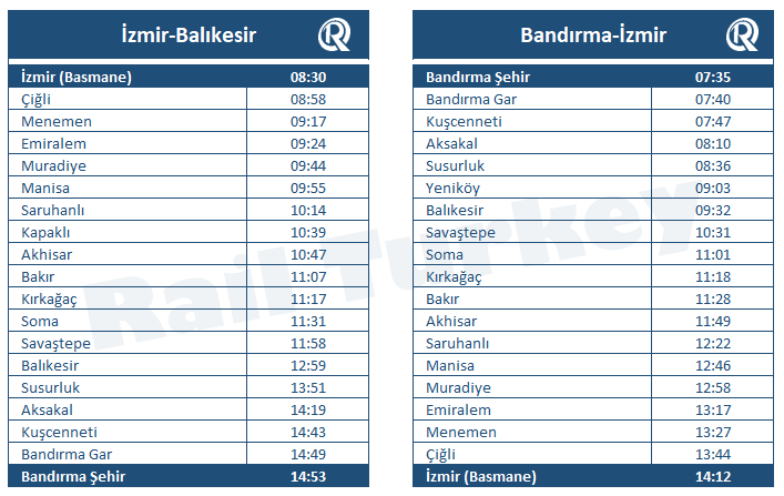6 Eylul Express timetable