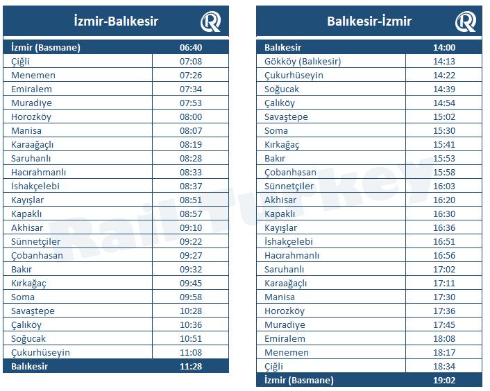 Ege Express timetable