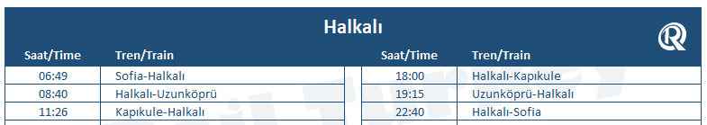 Halkali train station timetable