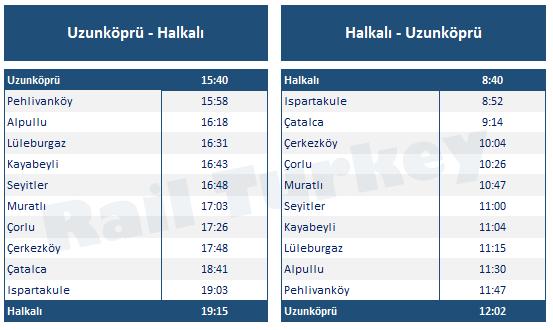 Halkalı Uzunköprü treni tren saatleri