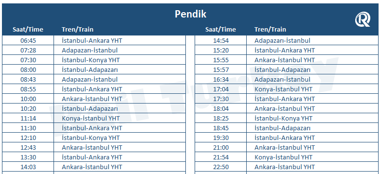 Pendik high speed train station timetable