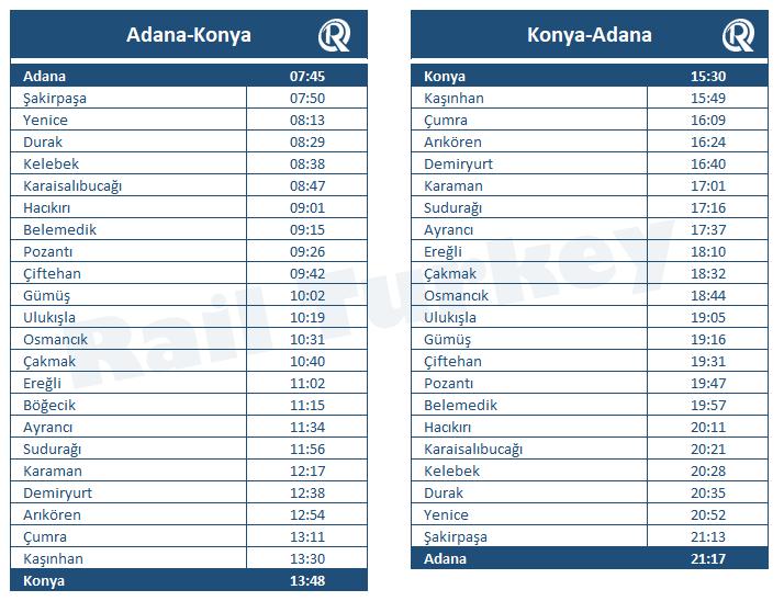 Toros Express timetable