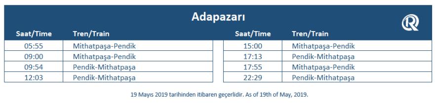 Adapazarı tren garı tren saatleri