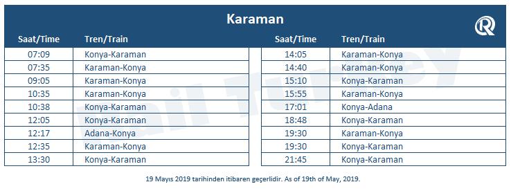 Karaman tren garı tren saatleri