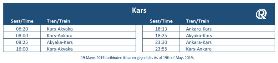 Kars train station timetable