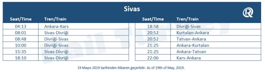 Sivas tren garı tren saatleri
