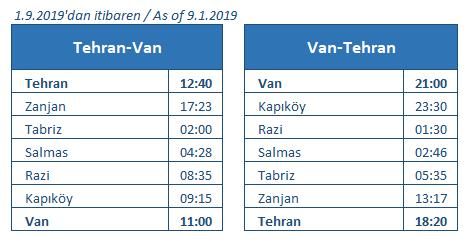 Tehran Van train timetable