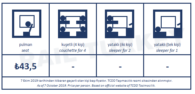 Pamukkale Ekspresi bilet fiyatları