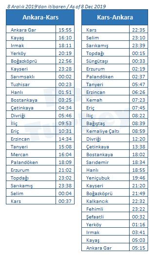 Touristic Dogu Express timetable