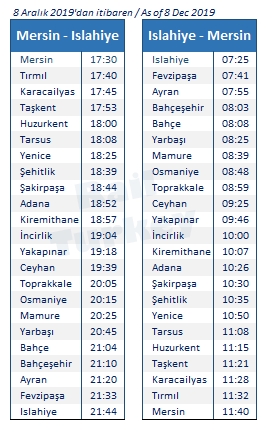Mersin Islahiye train timetable