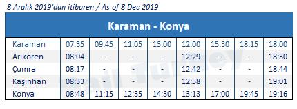 Konya Karaman train timetable