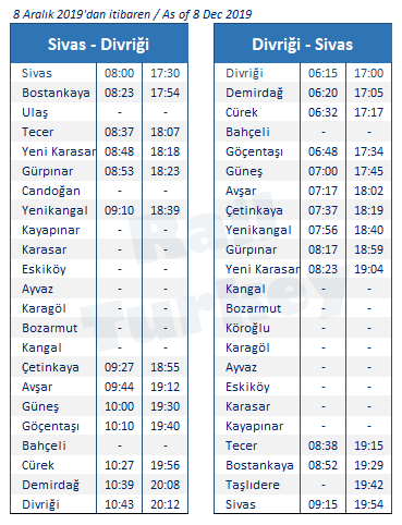 Divrigi Sivas train timetable