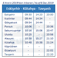 Eskisehir Tavsanli train timetable