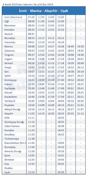 İzmir Alaşehir treni saatleri